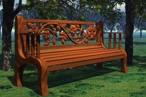 RoseBench1 300x199 Carved Rose Back Park Bench Free 3D Model