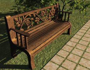 RoseBench2 300x235 Carved Rose Back Park Bench Free 3D Model