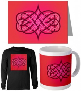 heartsProducts 267x300 Interwoven Hearts Knotwork Interlace Greeting Cards at CafePress
